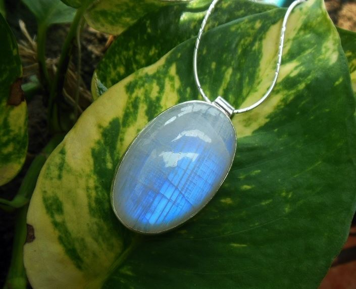 Rainbow Moonstone pendant necklace Oval