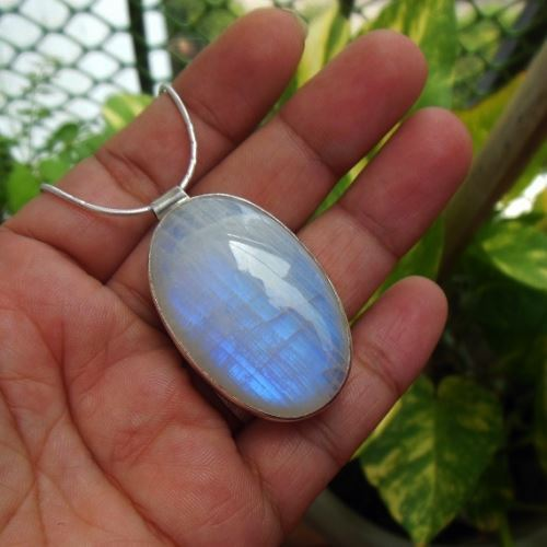 buy rainbow moonstone pendant necklace oval gemstone silver