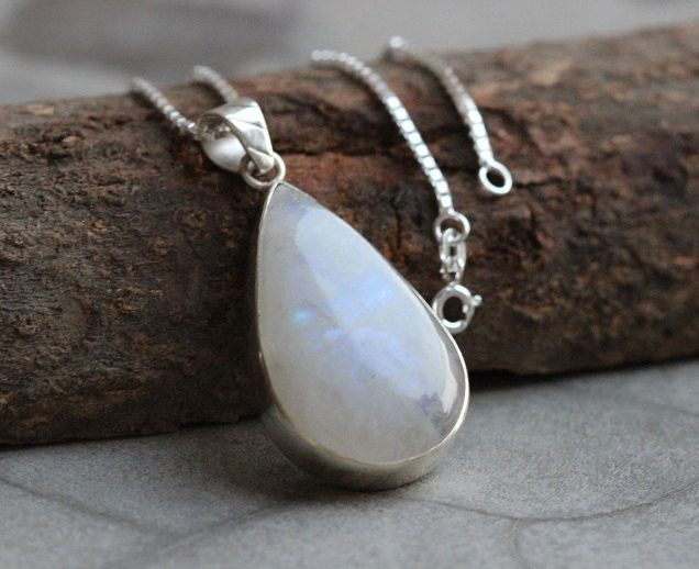 Rainbow Moonstone pendant necklace Tear