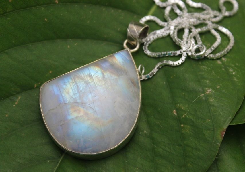 Rainbow Moonstone pendant necklace drop