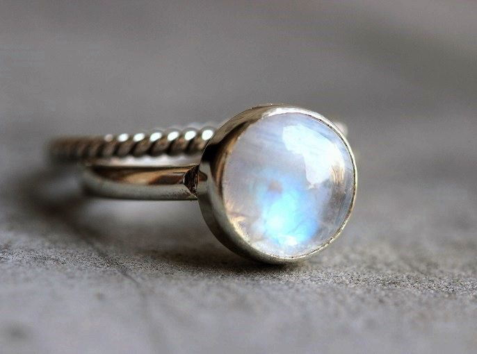 Rainbow Moonstone ring Stack rings