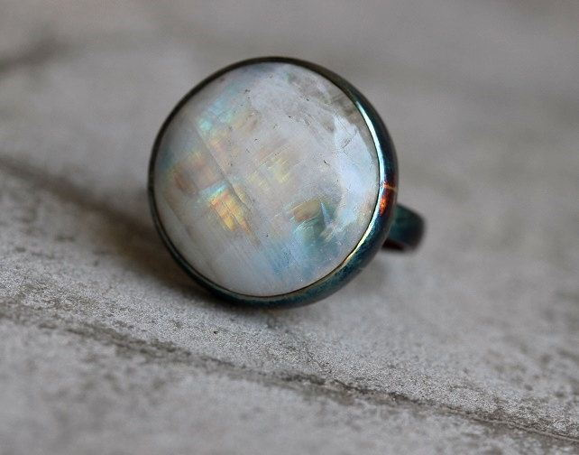 Rainbow Patina moonstone ring OOAK