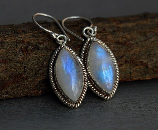 Rainbow Moonstone Earrings Dangler Silver Online At Astudio1980