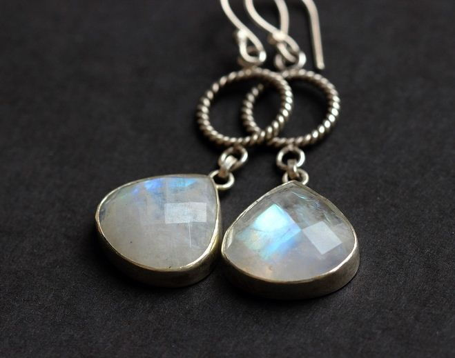 Rainbow moonstone earrings Bezel earrings