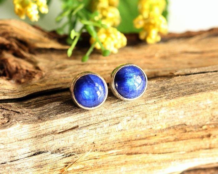 Rainbow Moonstone Earrings Blue Stud