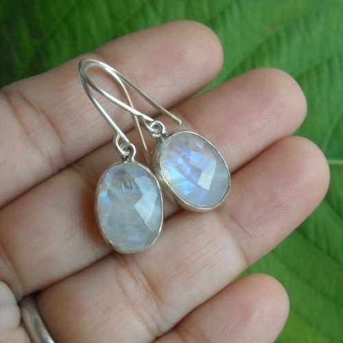 Rainbow Moonstone Earrings Sterling Silver Dangle