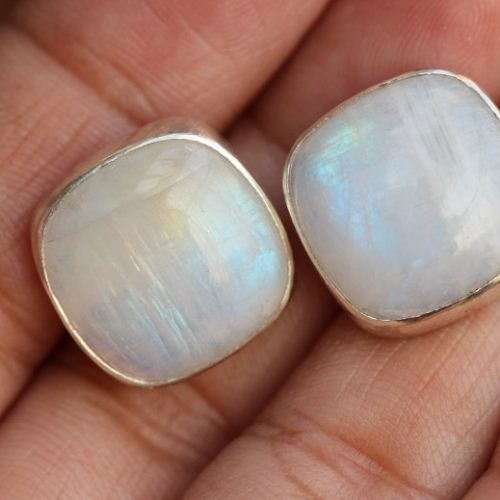 Rainbow Moonstone Earrings Stud Bridal Silver Studs