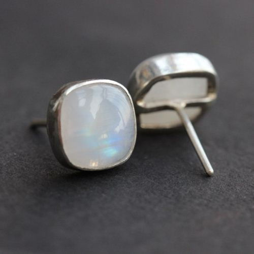 Rainbow Moonstone Earrings Stud Silver Studs