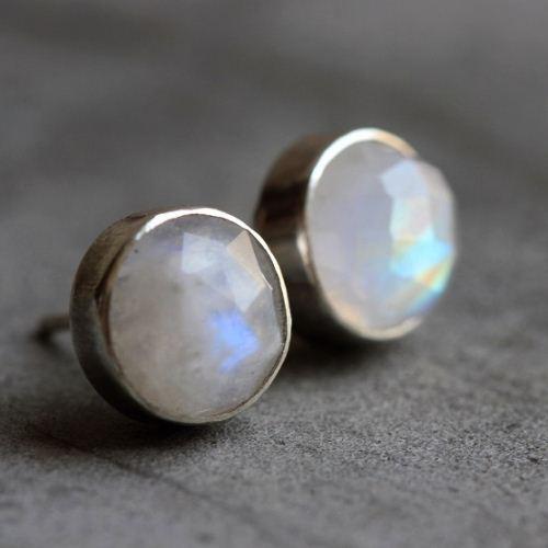 Rainbow Moonstone Earrings 8mm Round Silver Studs