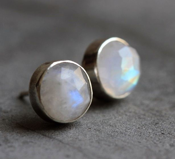 Rainbow Moonstone Earrings 8mm Round Silver Studs Online At Astudio1980