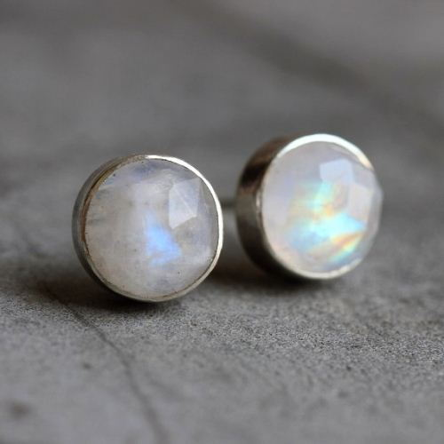 Rainbow Moonstone Earrings 8mm Round Silver Studs
