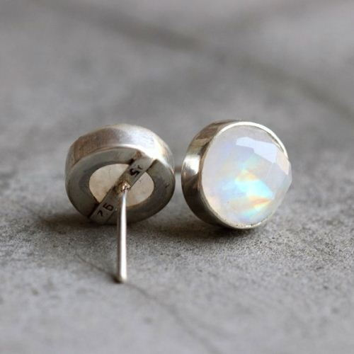 solid stone earrings gold moon store oval moonstone