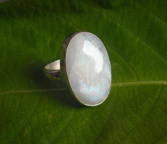 Black silver ring - Sterling Silver and Rainbow Moonstone Cocktail Ring