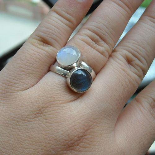 Rainbow Moonstone Ring Sterling Silver Wedding