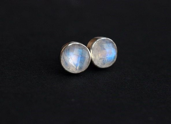 Rainbow Moonstone Stud Earrings Gift For Her Silver