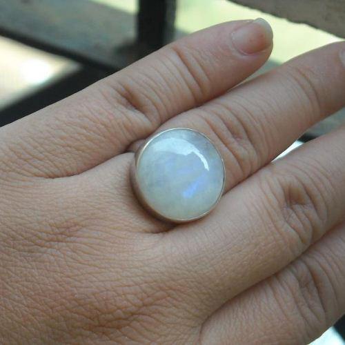 Rainbow Moonstone Wedding Ring Round Silver Gift Online At Astudio1980