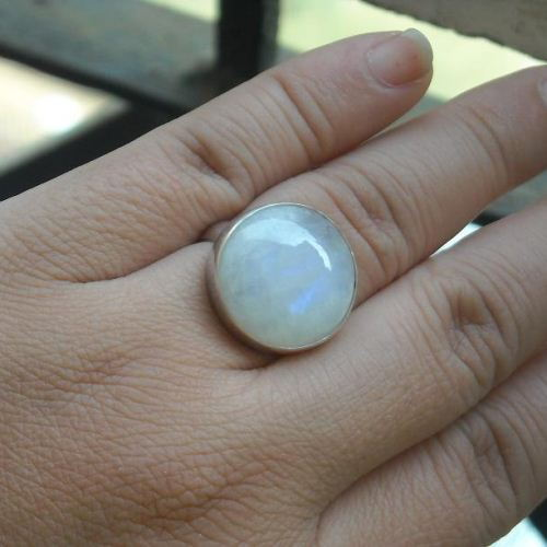 Rainbow moonstone wedding ring Round