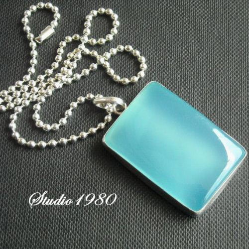Rectangle Chalcedony pendant Chalcedony necklace