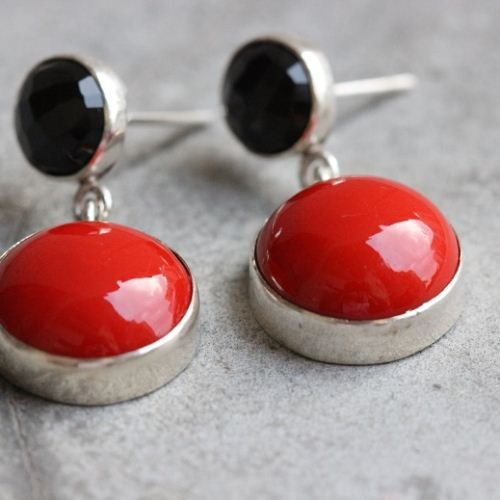 Buy Red Coral Earrings Black Onyx Coral Dangle Silver