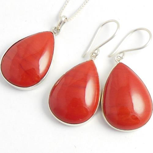 Red Coral Jewelry Sets Red