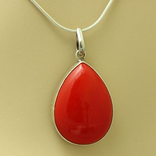 coral silver chain drop pendant handmade red buy