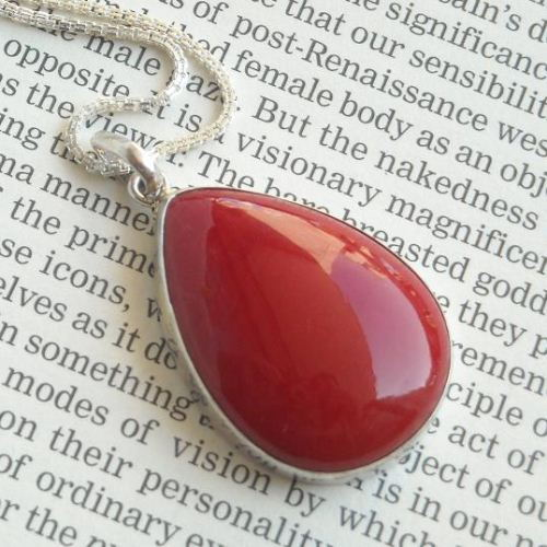 Red Coral Pendant Coral silver