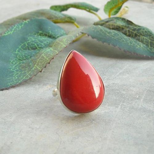 Red Coral Ring Drop ring Bamboo Coral ring