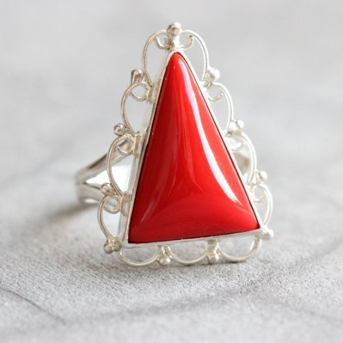 Red Coral Ring One of
