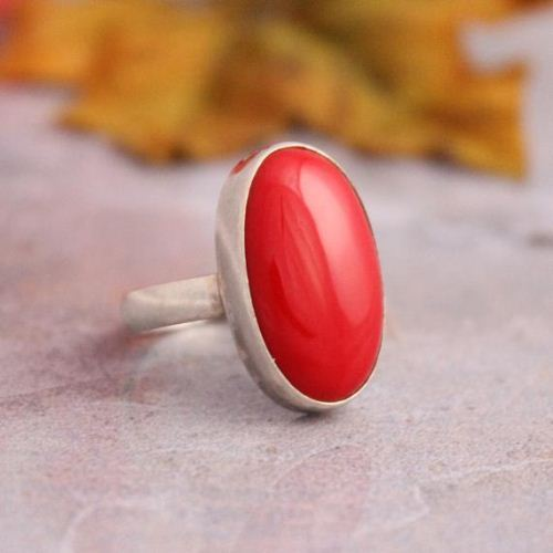 Buy Red Coral Ring Oval Ring Red Stone Silver Ring