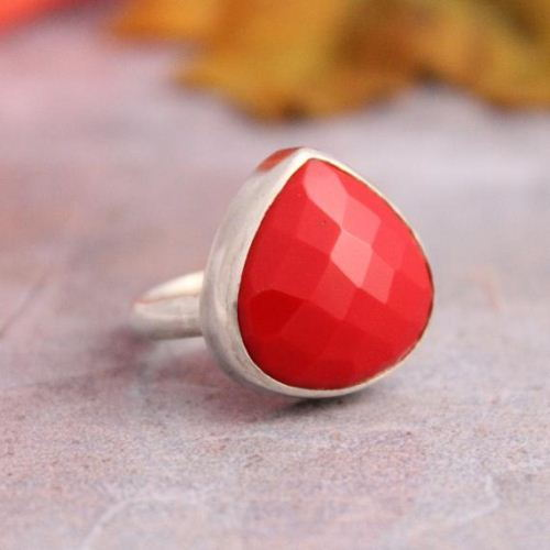 Buy Red Coral Ring Triangle Ring Faceted Stone Silver