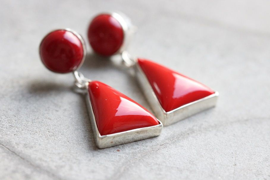 Red Coral earrings Coral dangle