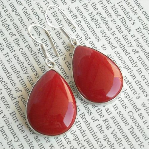Red Coral earrings Red drop