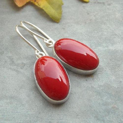 Buy Red Coral Earrings Sterling Silver Earrings Oval
