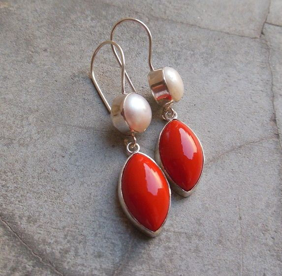 Red Coral pearl earrings Sterling