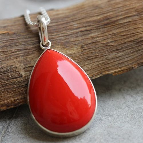 sea chain amazon necklace sterling slp red teardrop com coral bamboo inlay silver pendant natural
