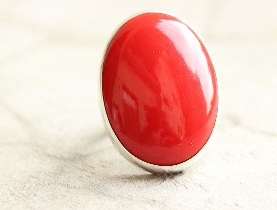 Red Coral ring Oval ring