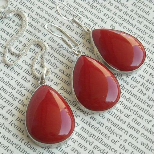 Red Coral set Coral Jewelry