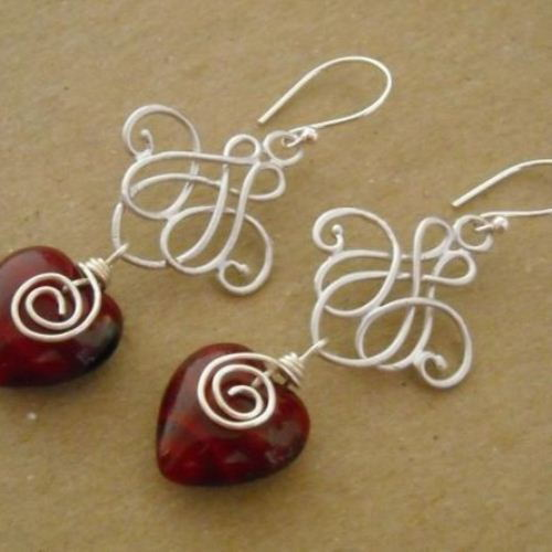 Red Heart earrings Chandelier earrings