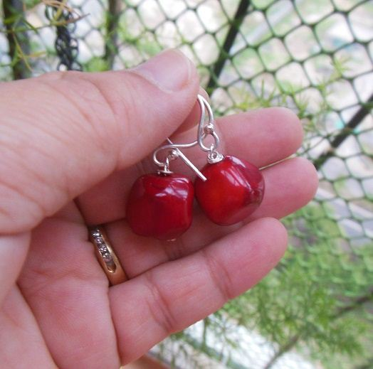 Red bamboo Coral handmade sterling