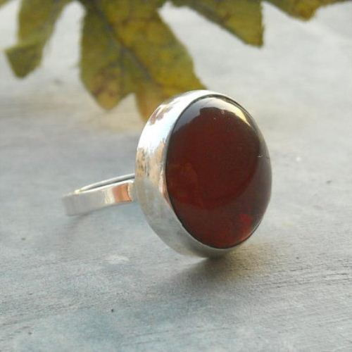 Red carnelian ring Sterling carnelian