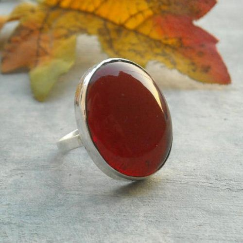 Red cocktail ring sterling silver