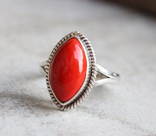 Red coral Ring Artisan Bezel