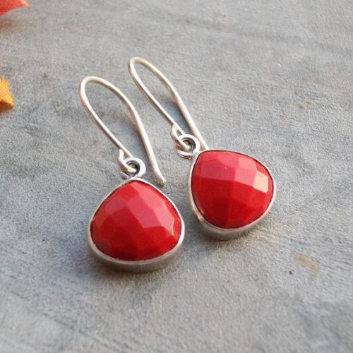 Red coral earrings Coral silver