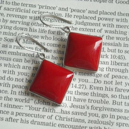 Red coral earrings Hook earrings