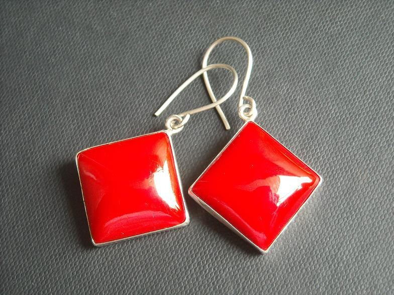 Red coral earrings Red earrings