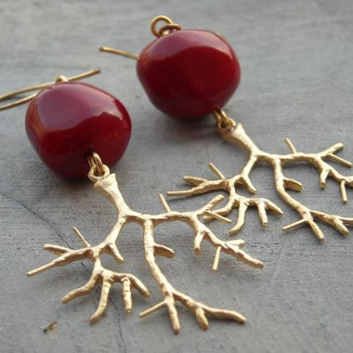 Red coral earrings gold filled dangle