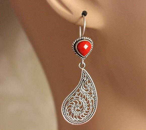 Red coral filigree artisan sterling
