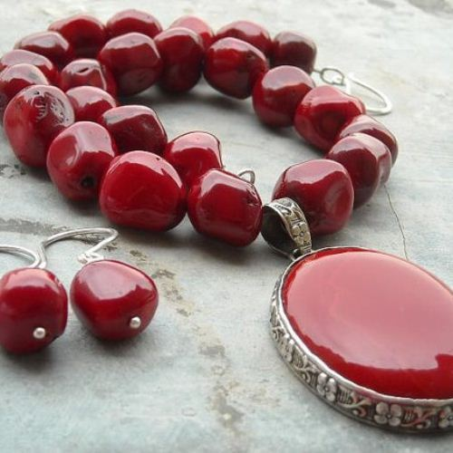 Red C Necklace Earring Set Oval Large Silver