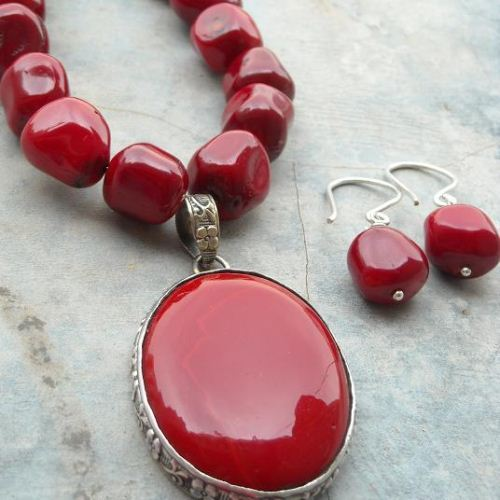 natural pendant red women array luxury clouds gemstone coral item silver trendy necklace elegant