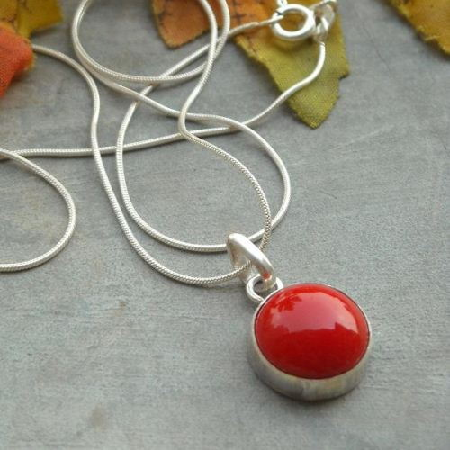 Red coral pendant chain unique